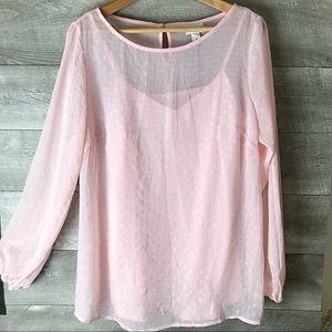 Ava & Viv long sleeve chiffon overlay blouse